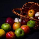 spilled apple basket