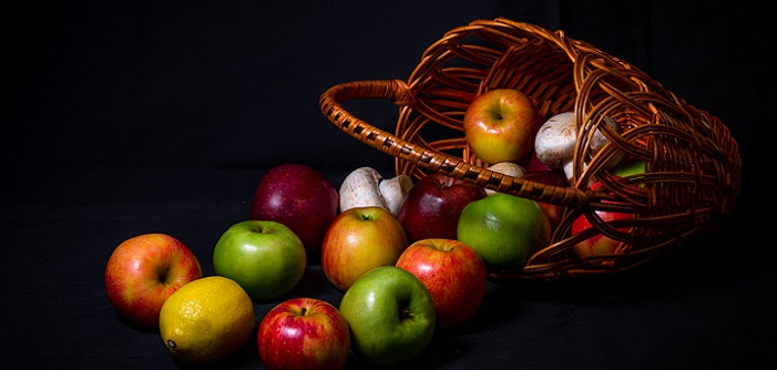 spilled apple basket