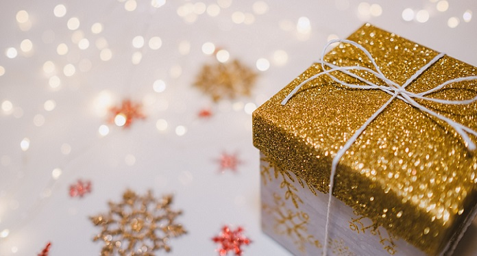 gold wrapped christmas present
