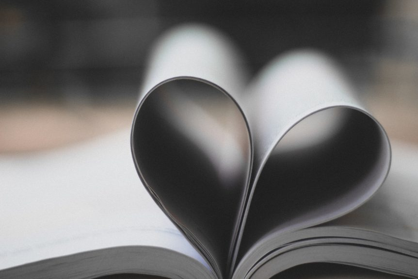 book pages heart