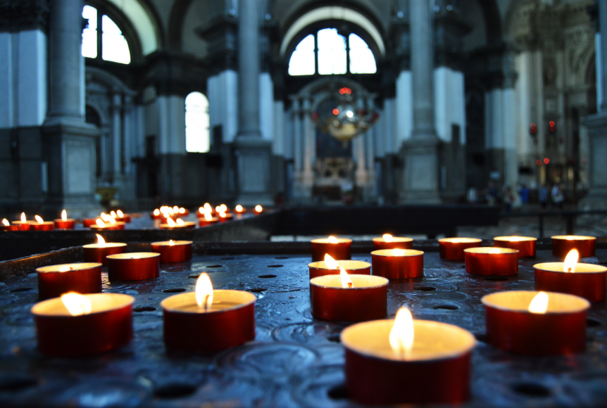candles church floor
