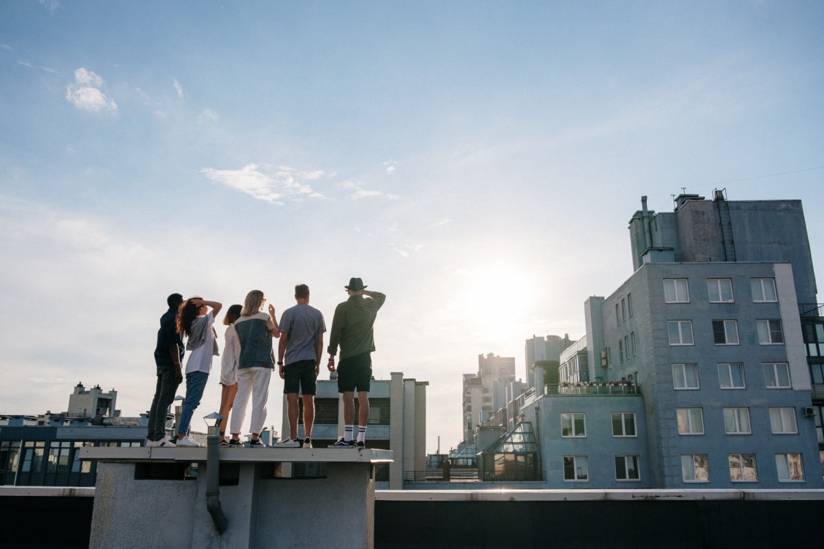 people on roof